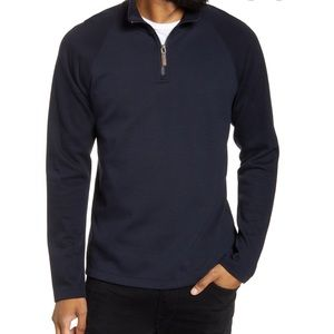 Vince Ribbed Quarter Zip Long Sleeve Pullover